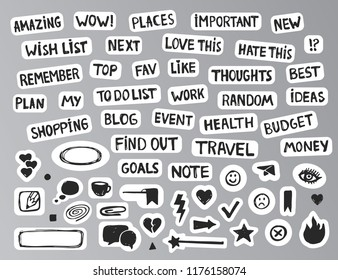 Handdrawn bullet journal stickers or buttons for website Cute grunge labels for planning diary. Drawing collection for sticking and organizing your time.