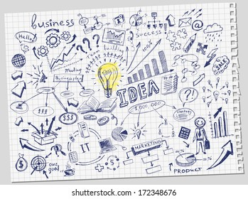 hand-drawn business doodles set
