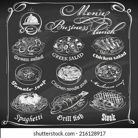 hand-drawn business lunch menu on chalkboard