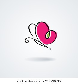 Hand-drawn butterfly with a heart's shape wings. Vector symbol