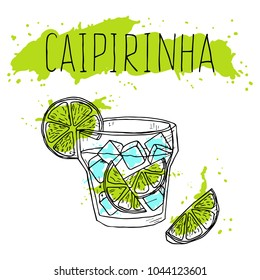 Hand-drawn caipirinha cocktail on a white background. Vector illustration. Sketch of cocktail.
