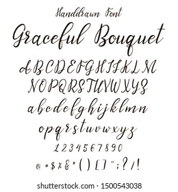 Handdrawn calligraphic font. Italic dynamic display alphabet. Modern typography. Lettering character set. Vector illustration.