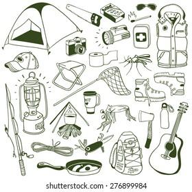 hand-drawn camping doodles set