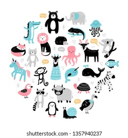 Hand-drawn cartoon animals and birds. Cute koala, turtle, zebra, fox, elephant, raccoon, lion, penguin, seal, deer and other. Doodle vector illustration good for posters, cards, t-shirts, books or ads