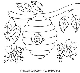 Hand-drawn cartoon bees with honey and a beehive on a tree, coloring page, vector illustration