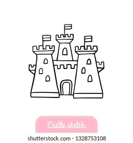 Hand-drawn cartoon castle. Doodle fairytale castle for princess. Vector Illustration good for logo, greeting card, banner, invitation or flyer.