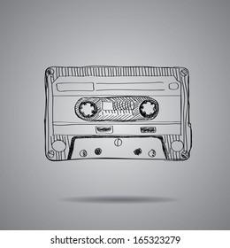 hand-drawn cassette tape. vector illustration on grey