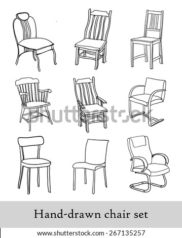 Handdrawn Chair Set Different Types Chairs Stock Vector Royalty