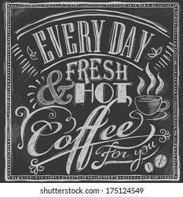 hand-drawn chalk coffee menu on blackboard