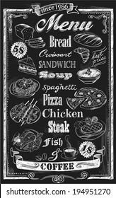 Hand-drawn chalkboard menu