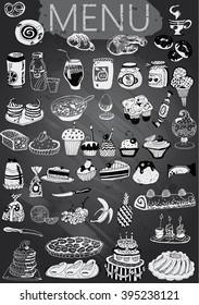 Hand-drawn chalkboard menu with desserts