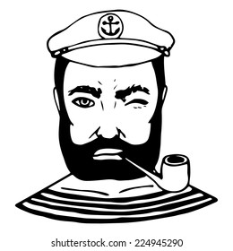Hand-drawn character sailor. Black and white doodle. Vector illustration