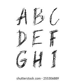 Handdrawn charcoal font - vector file with separated letters A, B, C, D, E, F, G, H, I. Real charcoal texture.