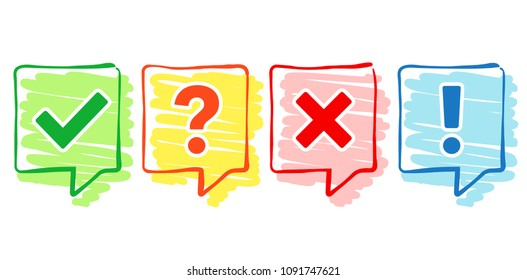 Hand-drawn check box icons set. Tick and cross, question mark, exclamation point. Vector illustration.