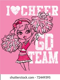 "hand-drawn cheerleader with ""I love cheer"" and ""Go team"" wording"