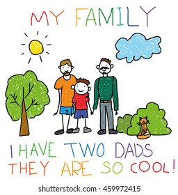 Hand-drawn childish happy gay couple with child, children hand drawing style, doodle. For banner, print, social advertisement about childhood, adoption, gay and homosexual marriage.