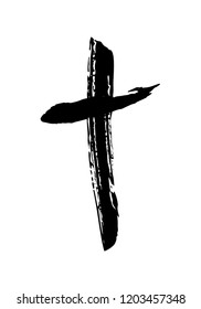 Handdrawn christian cross symbol, hand painted with ink brush. Vector illustration