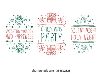 Handdrawn christmas badges with text on white background.  Wishing you joy and happiness. Christmas party. Silent night holy night.