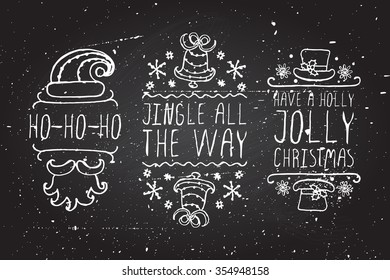 Handdrawn christmas badges with text on chalkboard background. Ho-ho-ho.  Jingle all the way.  Have a holly jolly christmas.