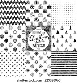 hand-drawn Christmas doodle patterns collection