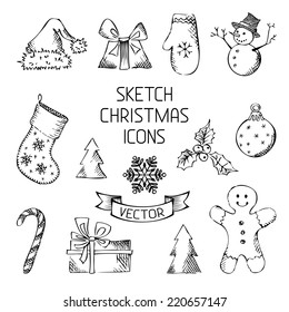 Hand-drawn Christmas icons. Sketch pencil Christmas objects for your design.