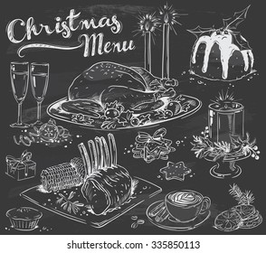 hand-drawn Christmas menu on chalkboard