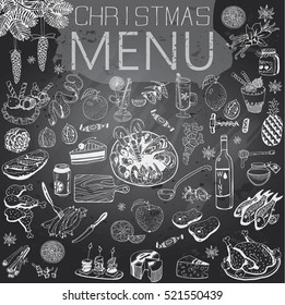 Hand-Drawn Christmas Menu with texture and text. Winter Holiday theme.