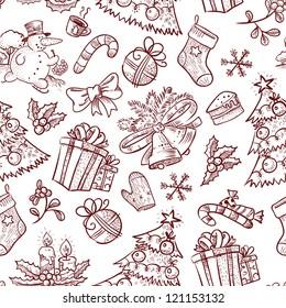 Hand-drawn Christmas seamless with Snowman