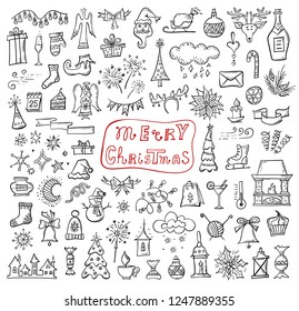 Hand-drawn Christmas symbols. Doodle icon set. Vector attributes of winter holidays.