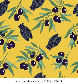 Hand-drawn cicadas and olive branches.