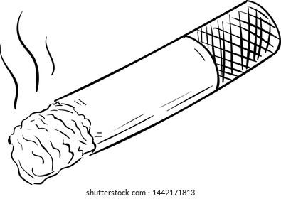 Handdrawn cigarette doodle icon. Hand drawn black sketch. Sign cartoon symbol. Decoration element. White background. Isolated. Flat design. Vector illustration.