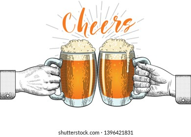 Hand-drawn clinking hands with beer mugs and the inscription in vintage engraving style. Isolated vector illustration on white background.