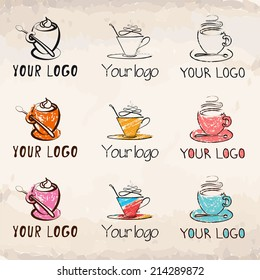 Hand-drawn coffee cups collection (logos)