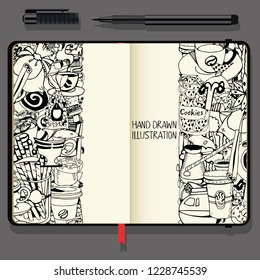 Hand-Drawn Coffee Doodle Collection. Vector Cookbook, Notebooks with Exclusive Coffee Illustration. Black and White illustration.