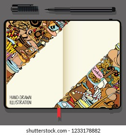 Hand-Drawn Coffee Doodle Collection. Vector Cookbook, Notebooks with Exclusive Coffee Illustration.