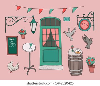 Hand-drawn collection of cute architectural elements in french style. Door, signboard, lamp, home plants, tables, pigeons, menu du jour (menu of the day in french)