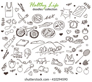 Hand-drawn collection of the healthy life doodles objects: bicycle, fruits and water, rollers,  food, weight, nature and  fresh air etc. Line art  icons.