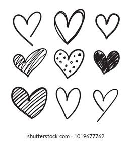 Handdrawn Collection Set of 9 Hearts