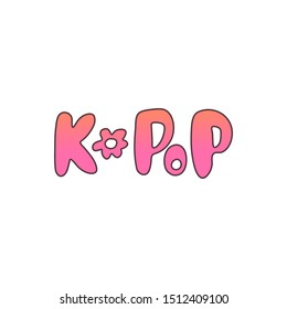Hand-drawn colorful k-pop lettering with a flower. Isolated sticker in a modern pink-orange gradient on white background. Design of postcard, poster, banner and t-shirt for korean pop music fans