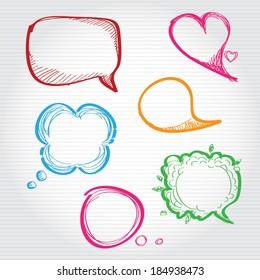 Hand-drawn, colorful speech bubbles. vector design elements