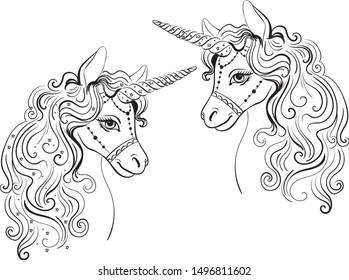 Hand-drawn coloring page. Unicorn. Cute children`s magic illustration