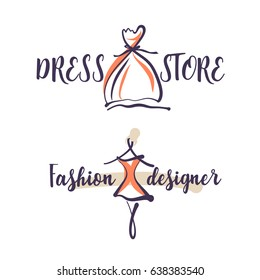 Hand-drawn concept logo for dress store isolated on white background. Template illustration for fashion designer shop.