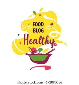 Hand-drawn concept vector logo for delicious homemade recipe with text Healthy food blog. Template logo with plate of vegetable and fruit isolated on white background.