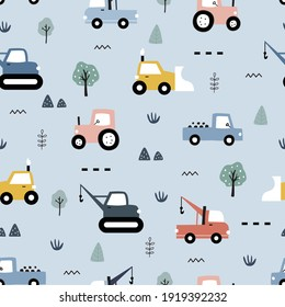 Hand-drawn construction vehicles seamless pattern vector have a tractor with the tree on gray background Cute design, cartoon style, used for printing, wallpaper, fabric, fashion textile.