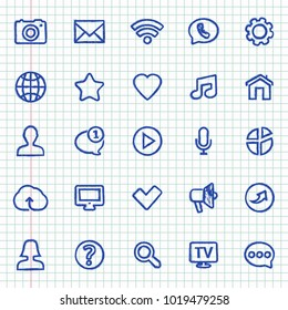 Hand-drawn contact and communication icons on notebook sheet