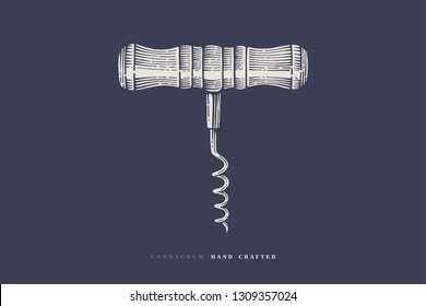 Hand-drawn corkscrew in an engraving style on a dark background. Vintage design element for the design of the wine menu of the restaurant, bar, cafe, label. Vector retro illustration.
