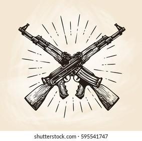 Hand-drawn crossed automatic machines of Kalashnikov, sketch. Weapon vector illustration