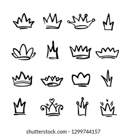 Hand-drawn crown icons, signs of a king, queen, princess, kingdom, greatness, power.