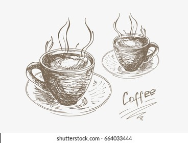 Hand-drawn cup of coffee on a saucer