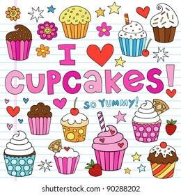 Hand-Drawn Cupcakes Dessert Notebook Doodle Design Elements Set on Lined Sketchbook Paper Background- Vector Illustration